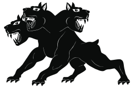 Three-headed dog Cerberus.